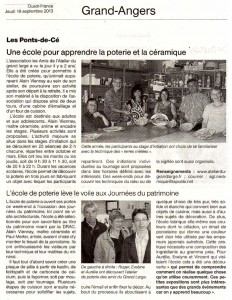 Article Ouest-France 19-9-2013